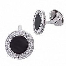 Серебряные запонки с эмалью Казанова