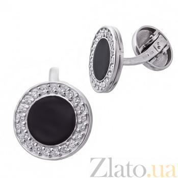 Серебряные запонки с эмалью Казанова TNG--730003А