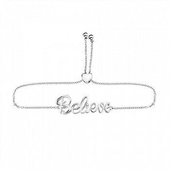 Серебряный браслет с подвеской Believe 000140396