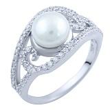 Серебряное кольцо Мирна с жемчугом и фианитами