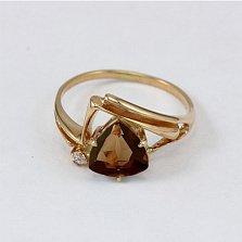 Золотое кольцо с раухтопазом и фианитом Идонеа