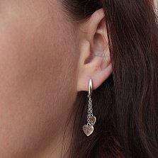 Серебряные серьги-подвески Два сердечка в стиле Тиффани