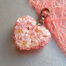 Серебряный кулон Цветочное сердце с муранским стеклом