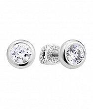 Серебряные серьги-пуссеты с кристаллами Swarovski 000131000