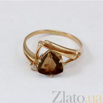 Золотое кольцо с раухтопазом и фианитом Идонеа 000030776