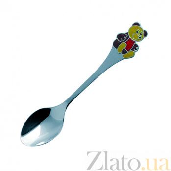 Серебряная ложка с эмалью детская Мишка ZMX--1285_1170
