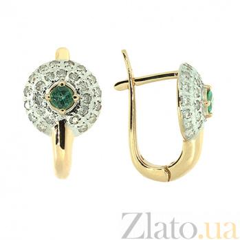 Золотые серьги с бриллиантами и изумрудами Далида ZMX--EDE-6747_K