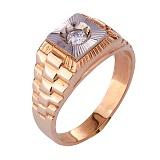 Золотое кольцо-печатка с фианитом Роберт