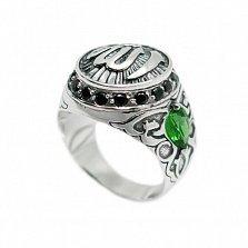 Серебряная черненная печатка Аллах с зелеными и черными фианитами