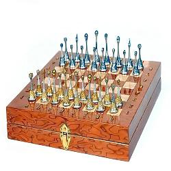 Дизайнерские серебряные шахматы с позолотой 000004366