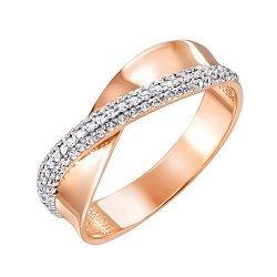 Золотое кольцо Лента в красном цвете с дорожками фианитов и родированными крапанами