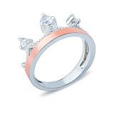 Серебряное кольцо Корона с золотой вставкой и фианитами