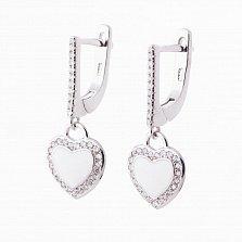 Серебряные серьги Сердечки с фианитами и эмалью
