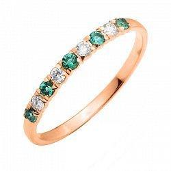 Кольцо из красного золота с изумрудами и бриллиантами 000106407