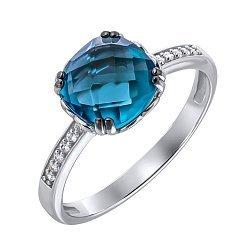 Золотое кольцо Аделаида в белом цвете с темно-голубым топазом и фианитами 000032123