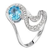 Золотое кольцо Инес с топазом и фианитами