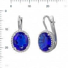Серебряные серьги Симона с ультрамариново-синим синтезированным кварцем и фианитами