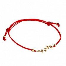Шелковый браслет Ветвь оливы в красном золоте