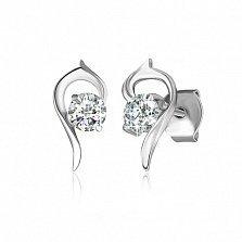 Серебряные сережки с цирконием Запятая