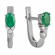 Серебряные серьги Нюша с зеленым агатом и фианитами