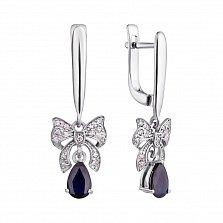 Серебряные серьги-подвески с бриллиантами и сапфирами Бонна