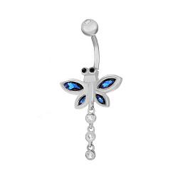 Серебряная серьга для пирсинга с кристаллами циркония Стрекоза 000031038