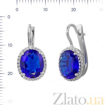 Серебряные серьги Симона с ультрамариново-синим синтезированным кварцем и фианитами 000081860