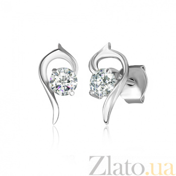 Серебряные сережки с цирконием Запятая SLX--СК2Ф/420