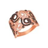 Кольцо из красного золота Фриволите с цирконием