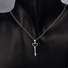 Серебряный кулон-ключик Мир любви с фианитами