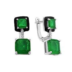 Серебряные серьги с черной эмалью, зелеными и белыми фианитами 000113215