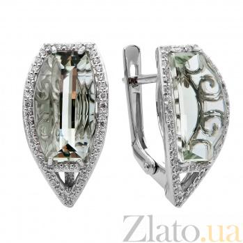 Серебряные серьги с зеленым кварцем Катарина 000030190