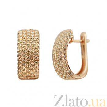 Серьги из красного золота Саммер с бриллиантами цвета шампань 000081234