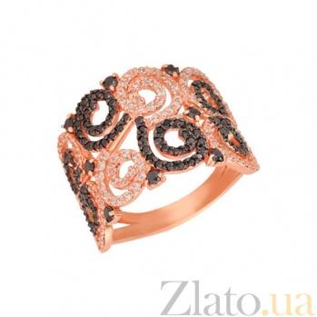 Кольцо из красного золота Фриволите с цирконием VLT--ТТТ1071-2