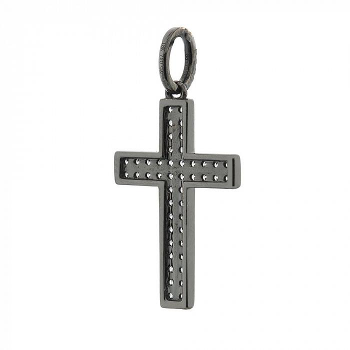 Крестик из белого золота Полетт в черном родии с бриллиантами 000070393