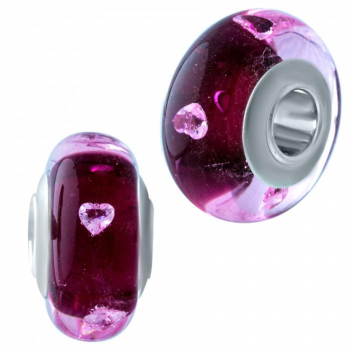 Серебряный шарм Флюиды любви с розовым муранским стеклом 000078287