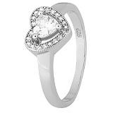 Серебряное кольцо Love you с фианитами