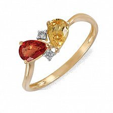 Кольцо из желтого золота с бриллиантами и сапфирами Пламенный взгляд