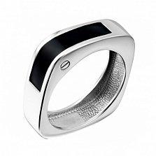 Серебряное кольцо Гайка с черной эмалью
