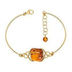 Серебряный браслет в позолоте с янтарем 000149065