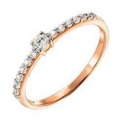 Кольцо из красного золота с кристаллами Swarovski и родированием 000135654
