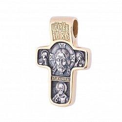 Серебряный крестик Хранители мира с позолотой и чернением