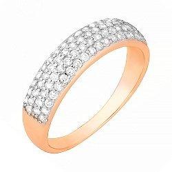 Позолоченное серебряное кольцо с фианитами 000028411