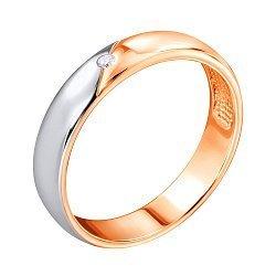 Золотое обручальное кольцо в комбинированном цвете с бриллиантом 000103697