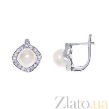 Серьги из серебра с жемчугом Катрин AQA--E00715PW