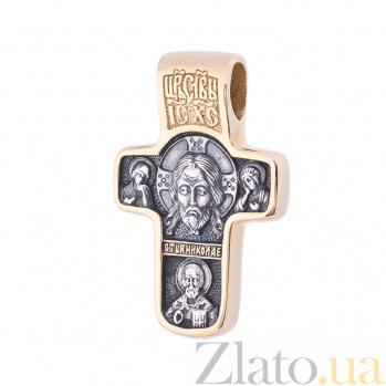 Серебряный крестик Хранители мира с позолотой и чернением 000080230