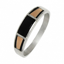 Серебряное кольцо с золотыми вставками Марат