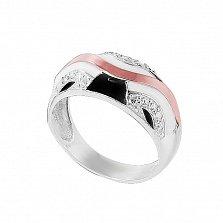 Серебряное кольцо Авита с золотой вставкой, эмалью и фианитами