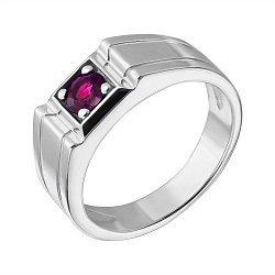 Серебряный перстень-печатка с рубином 000134070