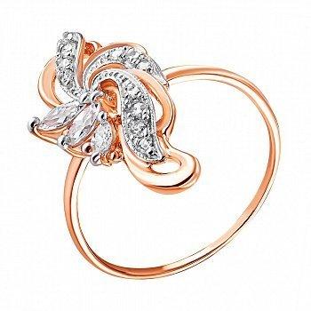 Кольцо из серебра с позолотой и фианитами 000025448